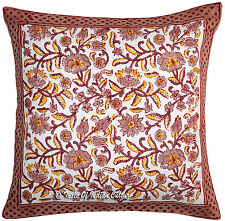 "Hand Block 16"" Pillow Cushion Cover Cotton Sofa Couch Throw Toss Bohemian Decor"