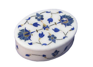 "4""x3""x1.5"" Oval Marble Jewelry Box Wedding Gifts Lapsi Lazuli Inlaid Decor H686"