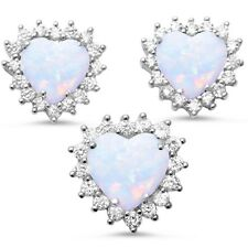 Lab Created White Opal CZ Heart Halo .925 Sterling Silver Earring & Pendant Set