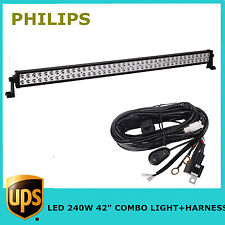 "42"" 240W LED Light Bar S/F COMBO Offroad Toyota 4X4 Truck JEEP PHILIPS Harness"