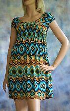 DRESSBARN Sz 4 Mini Dress Tunic Top Empire Waist Poly Spandex Boho Tribal Print