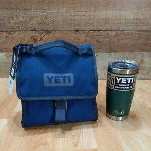 YETI Daytrip Lunch Bag Navy Blue Fold-And-Go & 20 oz Green Tumbler NEW NWT