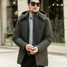 Men Puffer Coat Quilted Jacket Padded Thick Hooded Parka Warm Winter Casual