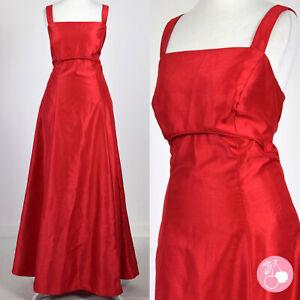 SHIMMERING RED TEXTURED 1980s VINTAGE BOHO MAXI DRESS 12