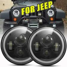 "2X DOT 7"" Inch Round LED Headlights Hi/Lo Beam for 97-18 JEEP JK TJ LJ Wrangler"