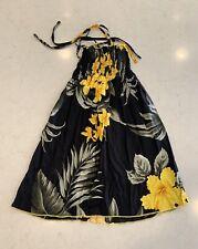 Hawaiin Knit Girls Dress Black & Yellow Size 6-8