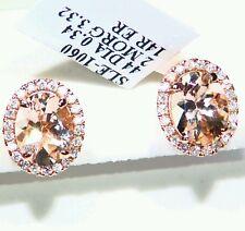 3.66CT 14K Rose Gold Natural Morganite White Diamond Engagement Vintage Earrings