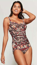 NWT MIRACLESUIT swimsuit 12 slimming flattering draped ruched gray maillot