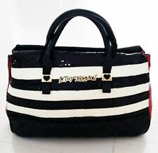 BETSEY JOHNSON Sequin BLACK / WhITE / RED Stripe Satchel HAND BAG 3-Compartment