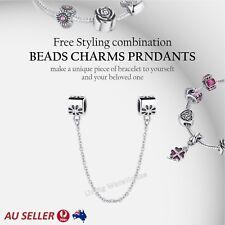 Silver Safety Chain 925 Sterling Silver Diamond Charm Ladies European Bracelet