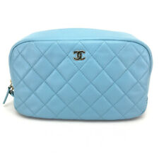 AUTHENTIC CHANEL Cosmetic Pouch Light blue Lambskin Leather