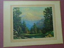 Robert Wood, Mountain, Snow, Trees, Pond, Rocks, Litho In U.S.A. Print 1950s