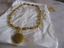 ART DECO BAKELITE BUTTERSCOTCH BEADS NECKLACE WITH BLUE YELLOW GLASS & PENDANT