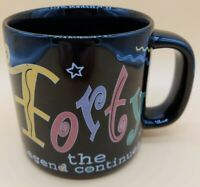 Russ Berrie Black Coffee Mug Forty 40 The Legend Continues Flirty Letters