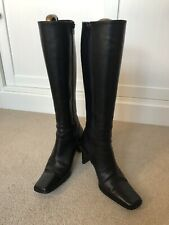 L.K. Bennett Black Leather Knee Length Boots Size 40 Made In Italy
