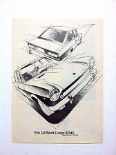 Vintage 1969 FIAT 124 Sport Coupe Car Original Print Ad Automobile