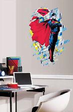 "SUPERMAN  wall sticker MURAL 34"" tall decal room decor classic superhero comic"
