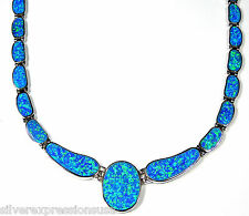 Amazing Blue Fire Opal Inlay Genuine 925 Sterling Silver Link Necklace 18""