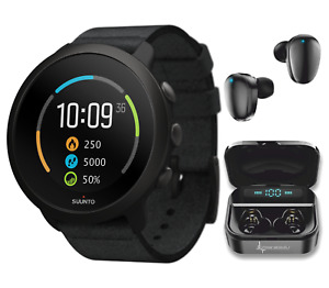 Suunto 3 Multisport Fitness Tracker All Black Watch with EarBuds Power Bundle