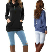 Women's Long Sleeve Button Cowl Neck Ladies Casual Slim Tunic Tops with Pockets