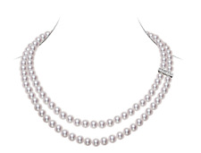 "7 mm White Japanese Saltwater Akoya Pearl Necklace 16"" 18"" Length"