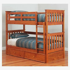 FORT KING SINGLE TIMBER BUNK BED AND TRUNDLE