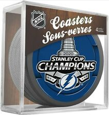 Tampa Bay Lightning 2020 Stanley Cup Hockey Puck Coasters (Package of 4) in Cube