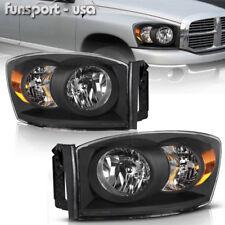 for 2006-2008 Dodge Ram 1500 2500 3500 Black Amber Headlights Headlamps Assembly