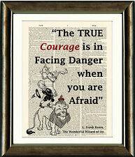 Vintage Antique Dictionary Page Art Print - Wizard of Oz Lion Quote Wall Art