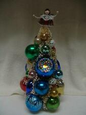 """BOTTLE BRUSH CHRISTMAS TREE WITH VINTAGE MERCURY GLASS ORNAMENTS 13"""" TALL"""