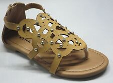 Girl Thong Gladiator Sandals (gerri22) Youth Black White Camel