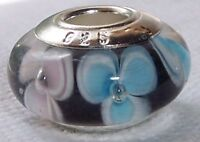 Blue Pink Flower Single Core Black Glass Bead for Silver European Charm Bracelet