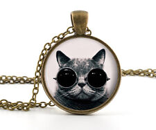 Steampunk Cat Pendant Necklace - Vintage Bronze Cool Animal Picture Jewellery