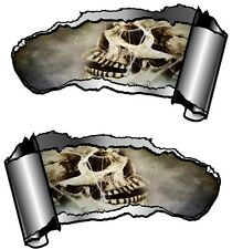 Pequeño Par rasgada Metal abierta Rip hueco entre dientes espeluznante Gótico Calavera y telarañas Pegatina de Coche