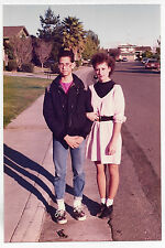 Vintage 80s PHOTO Teen Teenage Couple Guy & Girl Standing In Neighborhood