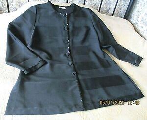 Black formal party jacket by ESSENCE Size 20 Horizontal wide stripes Sequin trim