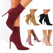 Womens High Stiletto Heels Zip Ankle Socks Boots Ladies Suede Shoes Boots