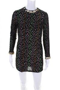 Fendi Womens Metallic Long Sleeve Sequin Shift Dress Black Size XS LL19LL