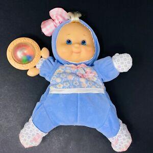 Fisher Price Brilliant Basics Plus Baby Doll Vinyl Face Purple Flowers Rattle