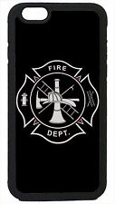 Case Cover for iPhone 4 4s 5 5s 5c 6 6 Plus Firefighter Fireman Black Logo