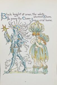 ANTIQUE Walter CRANE Artist Bookplate #13 'Floras Feast' Crown Imperial c1890