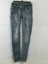 Almost Famous Women's Size 3 Skinny Distressed Denim Jeans