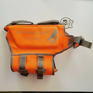 Vivaglory Sport Style LG Ripstop Dog Life Jacket Bright Orange Med Rescue Handle