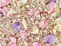 PINK White Lilac Biodegradable Dried Real Petal Wedding Confetti Rose Delphinium