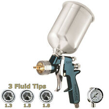 DeVILBISS FinishLine 4 HVLP SPRAY PAINT GUN w/ Air Regulator & 1.3 1.5 1.8 Tips