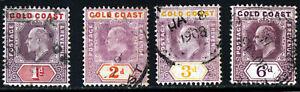GOLD COAST KE VII 1904-6 Watermark Multiple Crown CA Part Set SG 50 to SG 54 VFU