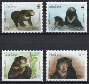 Laos 1994 WWF Bears 4 MNH stamps