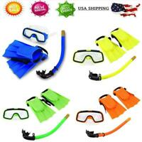 Mask Diving Set Snorkel Kids Silicone Fins Swimming Tube Scuba Gear Foot