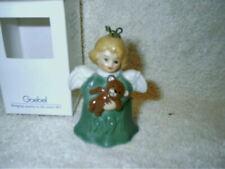 1991 Goebel Angel Bell Ornament Green Holding Bear Made In Germany Nib