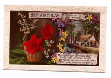 Vintage Rotary Greetings Postcard - 21st Birthday - Franked 1927